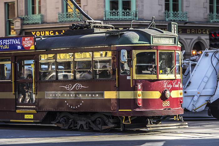 Il tram gratuito che percorre un giro circolare intorno al centro di Melbourne.